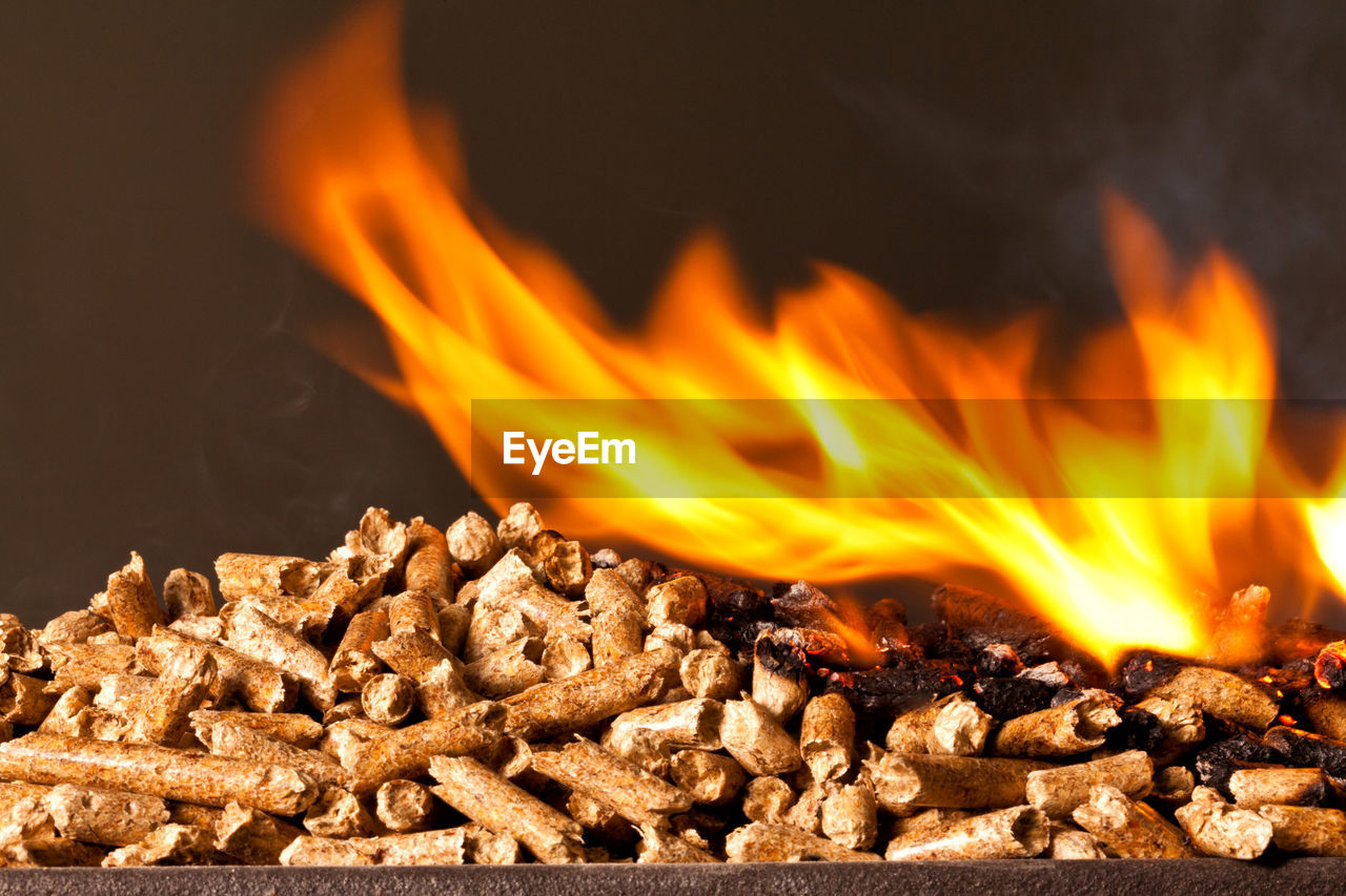 burning, heat - temperature, fire, flame, fire - natural phenomenon, orange color, glowing, no people, nature, motion, wood - material, close-up, food, food and drink, wood, firewood, log, fireplace, indoors, bonfire