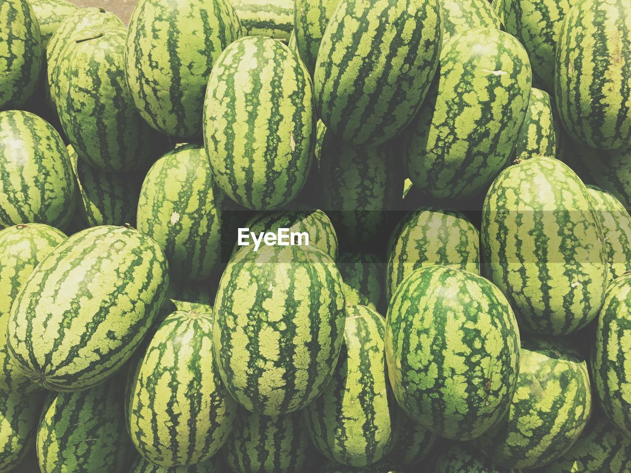 Full Frame Of Organic Watermelons In Market