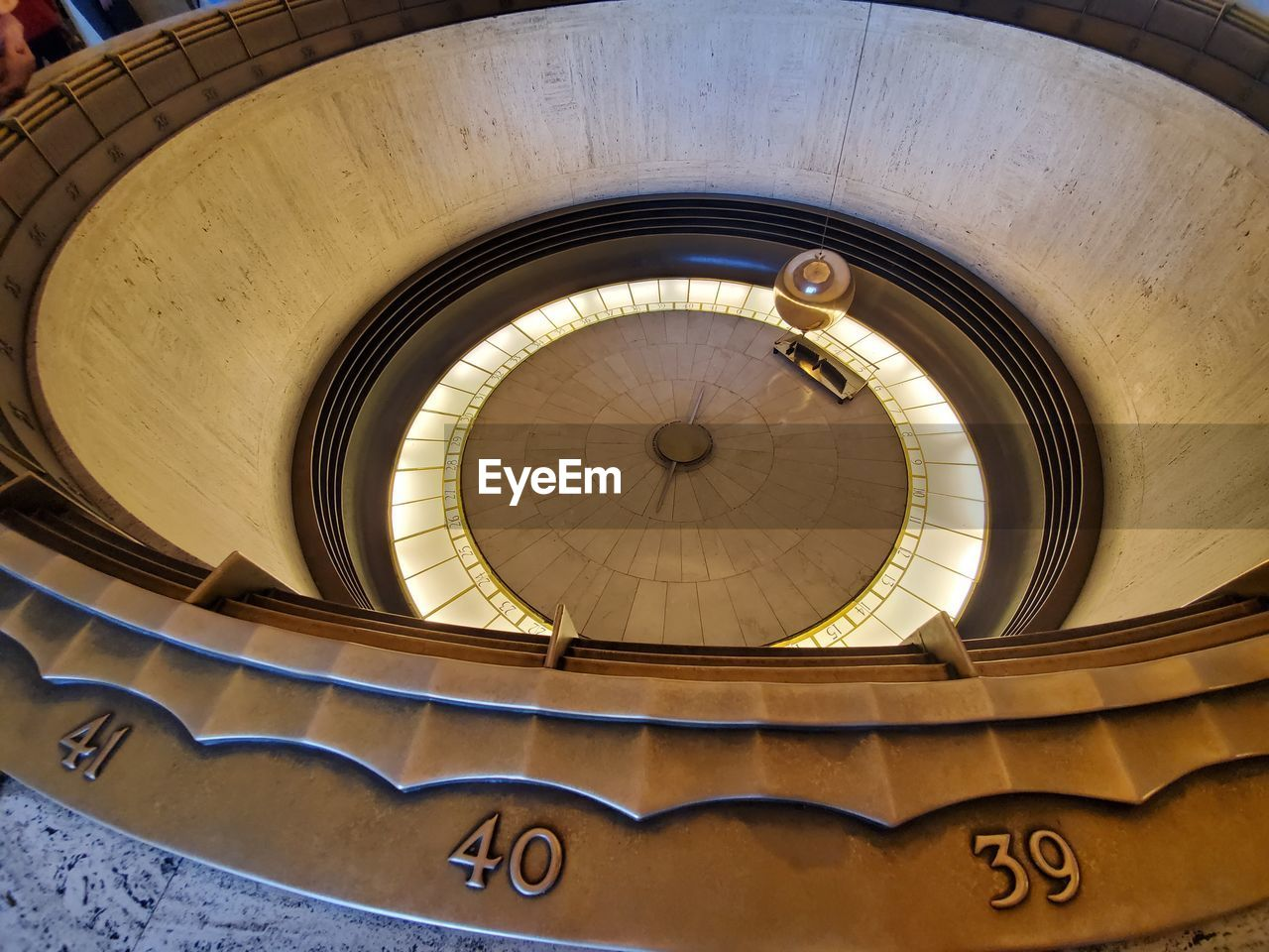 DIRECTLY BELOW VIEW OF SPIRAL STAIRCASE