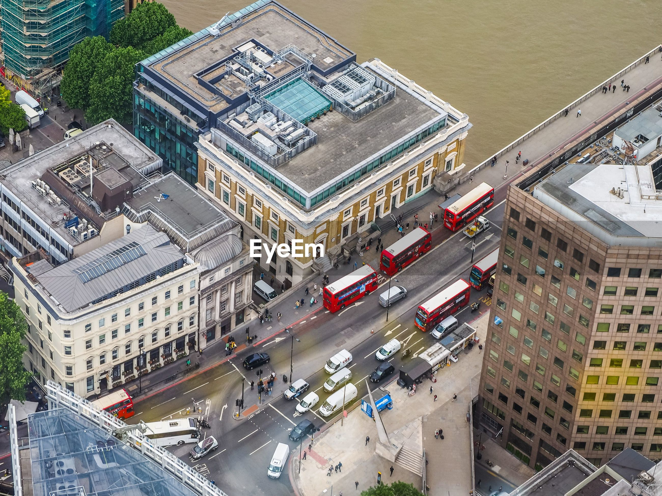 High angle view of traffic in london