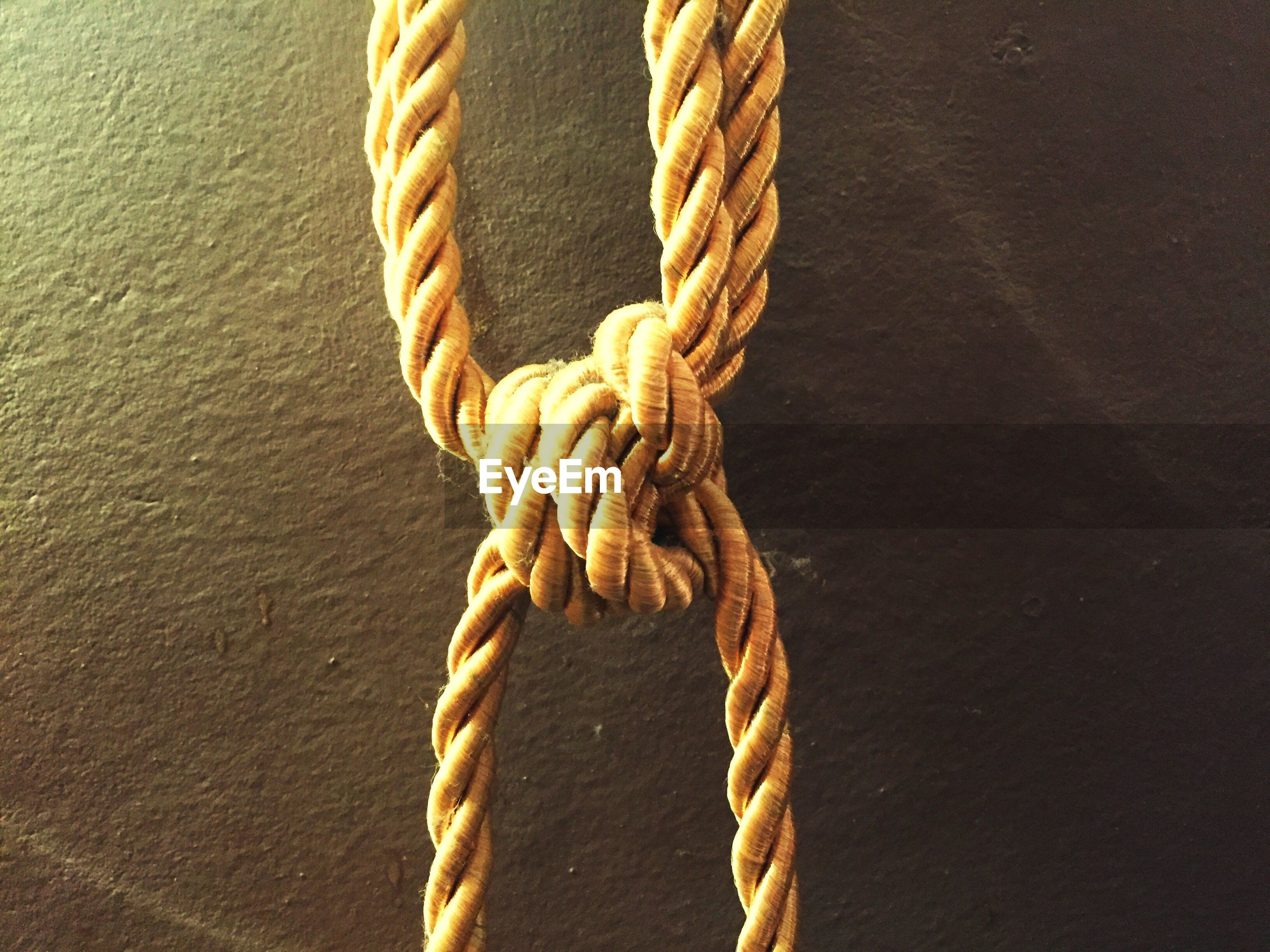 Close-up of ropes tied against wall