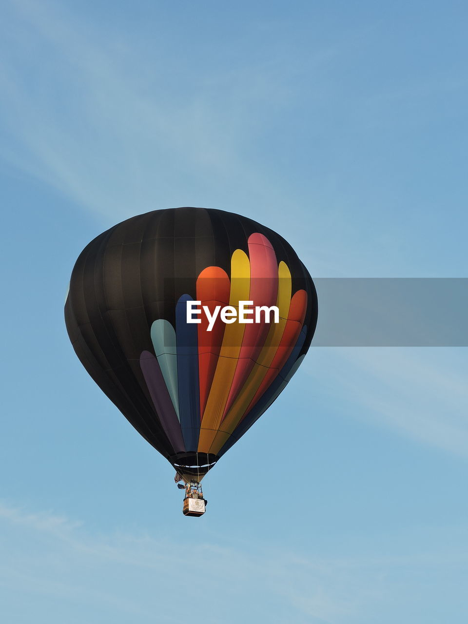 Low Angle View Of Hot Air Balloon Flying In Sky