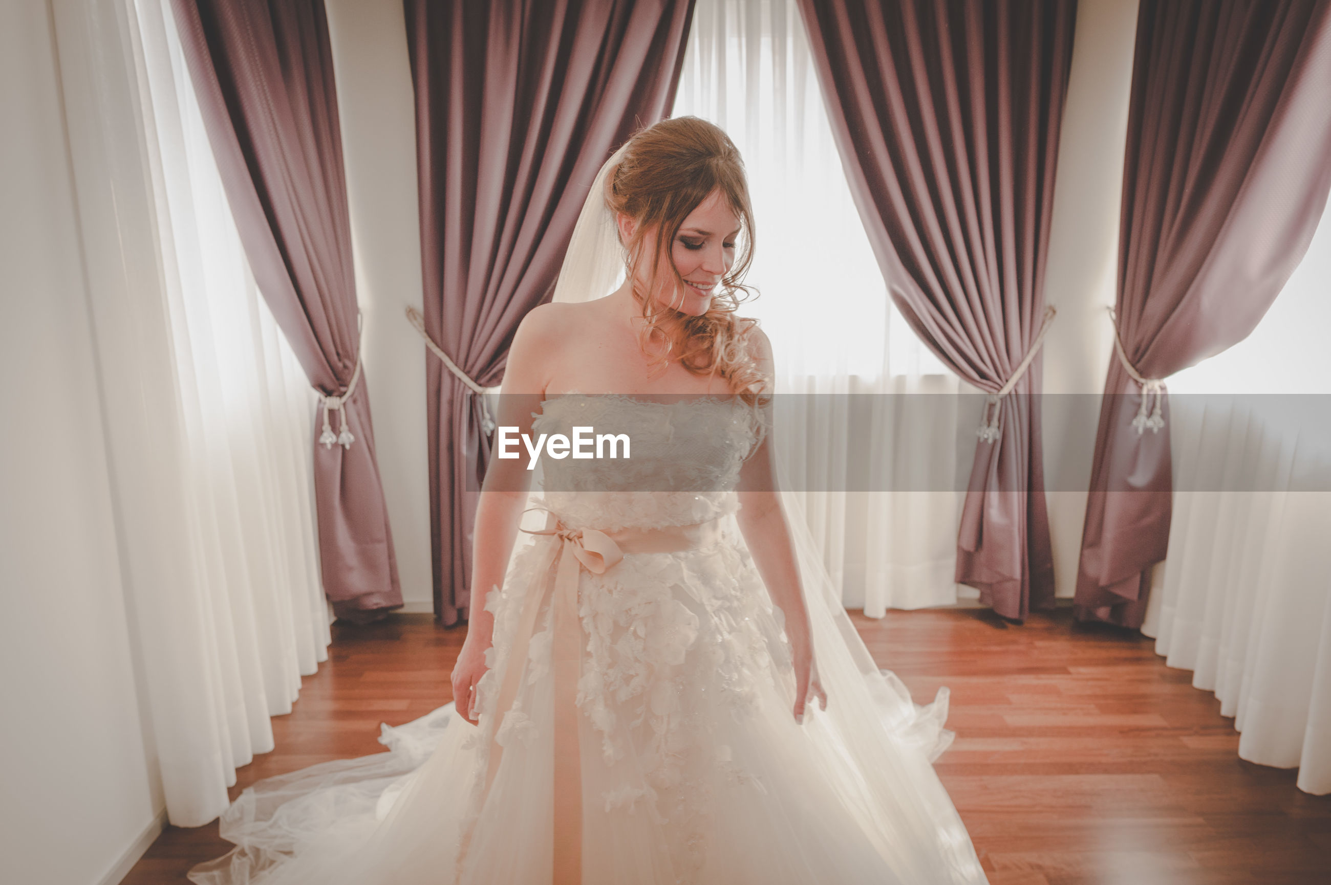 wedding, event, wedding dress, bride, newlywed, celebration, indoors, women, young adult, clothing, life events, front view, fashion, young women, curtain, white color, dress, adult, one person, wedding ceremony, beautiful woman