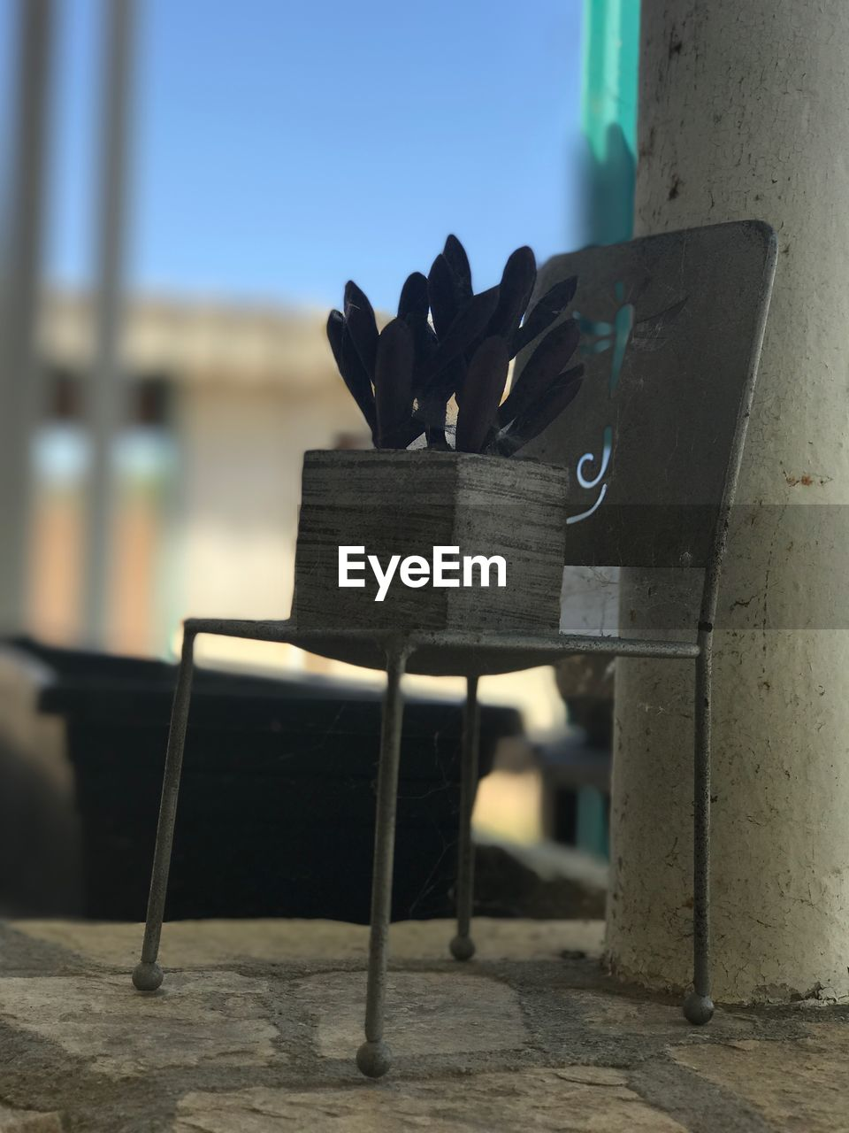 focus on foreground, chair, day, outdoors, no people, close-up, sky