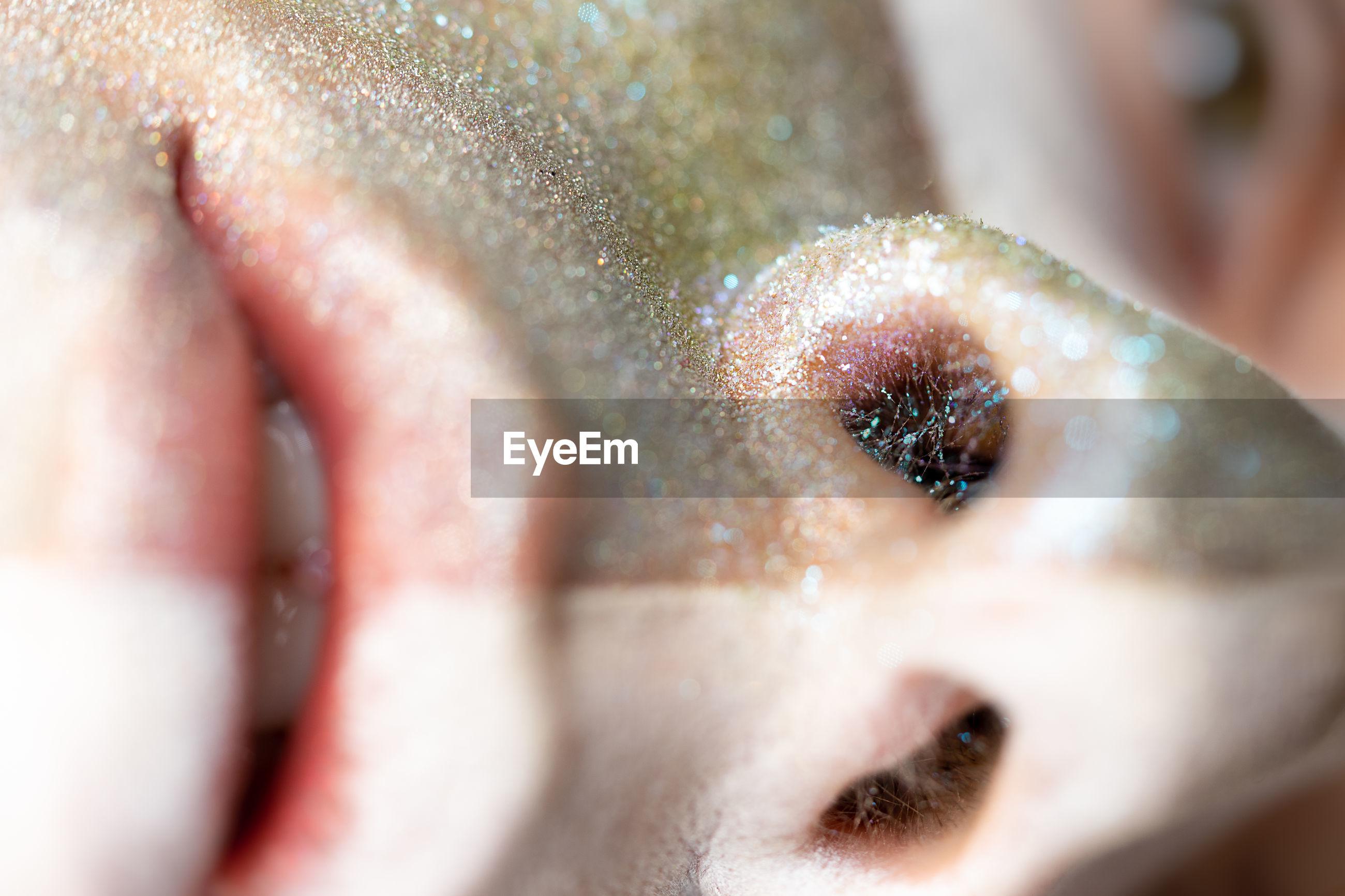Close-up portrait of a man's nostrils