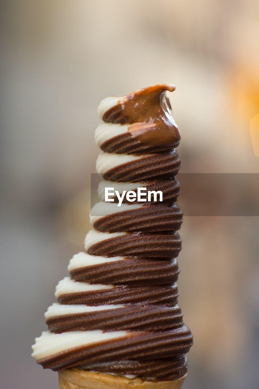 Close-Up Of Chocolate And Vanilla Ice Cream