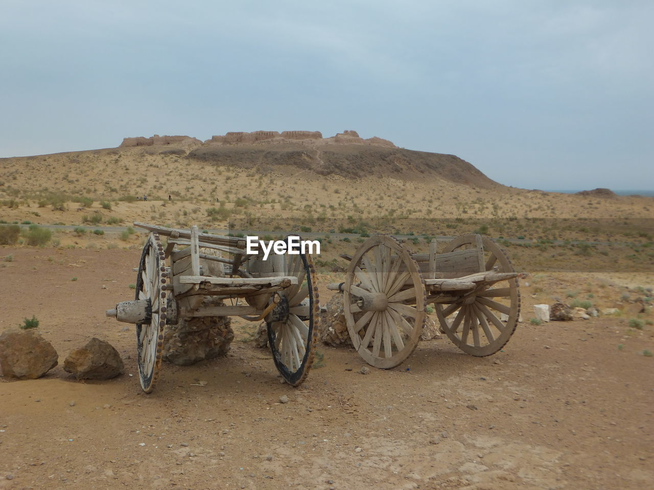 View Of Wheelbarrows In Desert