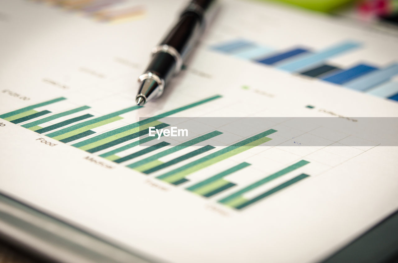 Close-up of graph chart with pen