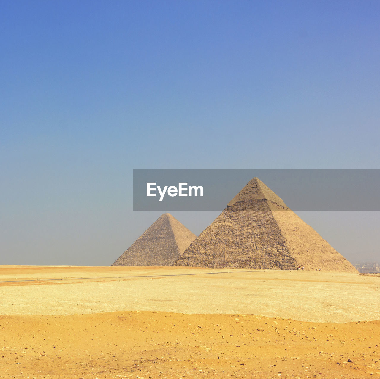 Scenic View Of Giza Pyramids Against Clear Sky