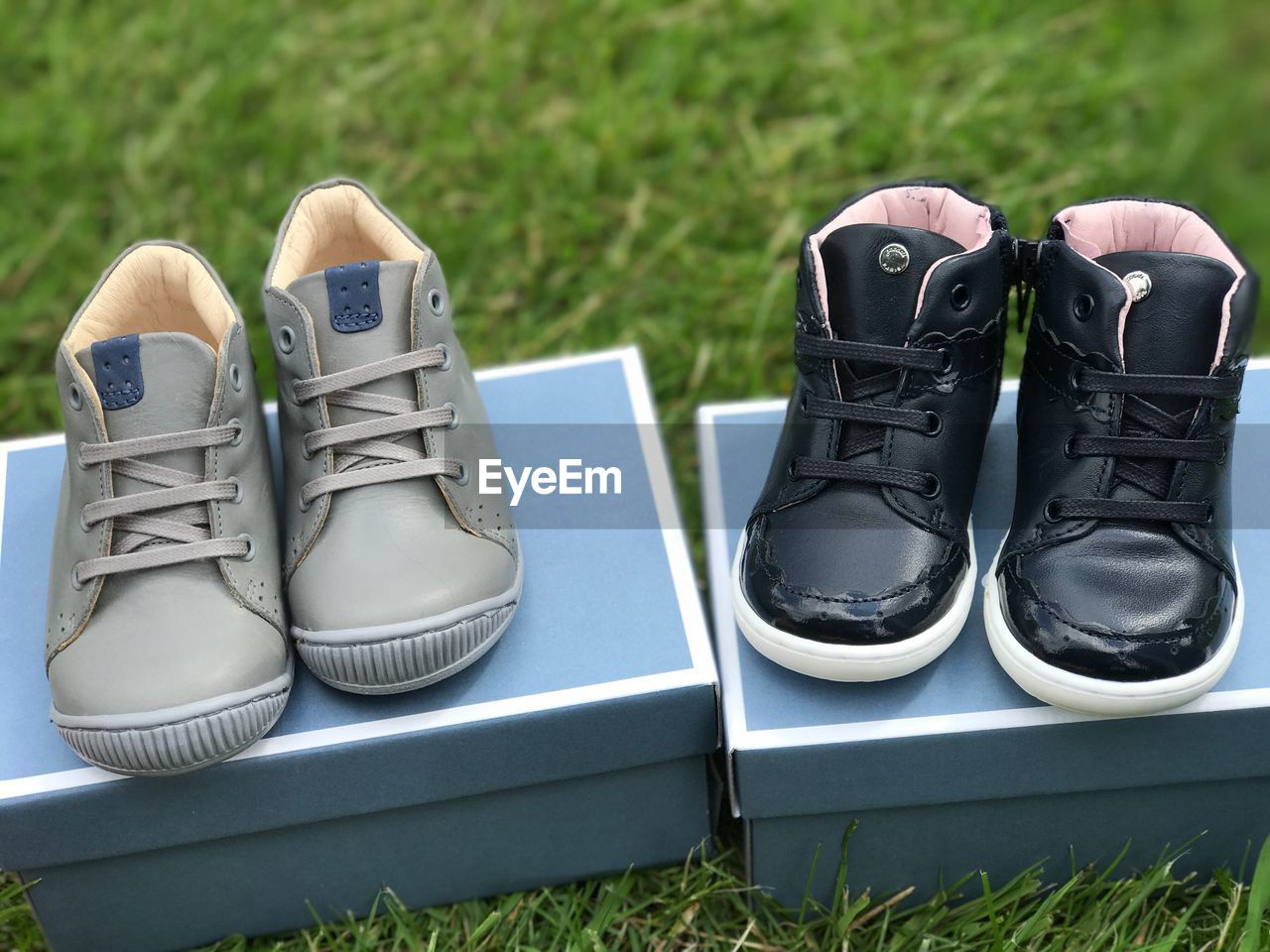shoe, grass, pair, plant, nature, day, no people, absence, field, compatibility, outdoors, green color, side by side, growth, land, still life, canvas shoe, focus on foreground, close-up, shoelace, personal accessory