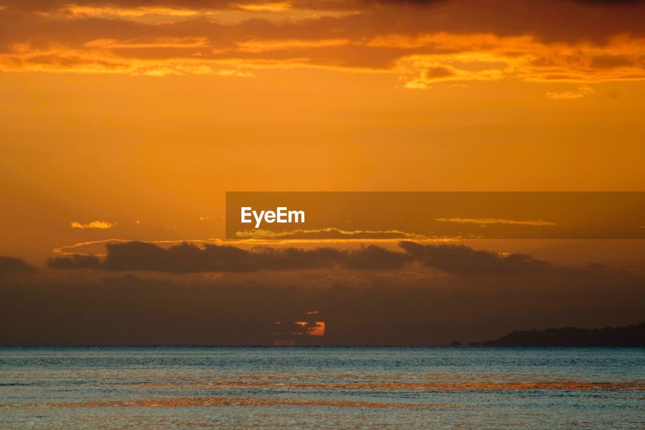 sky, sunset, sea, water, cloud - sky, scenics - nature, beauty in nature, orange color, waterfront, tranquil scene, nature, tranquility, no people, idyllic, horizon, horizon over water, nautical vessel, transportation, outdoors
