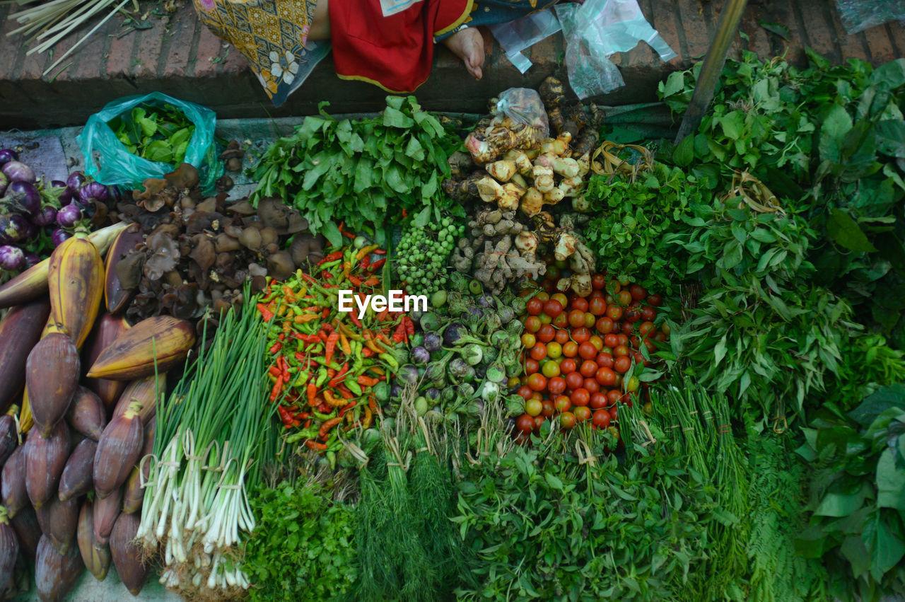 High Angle View Of Various Food At Market