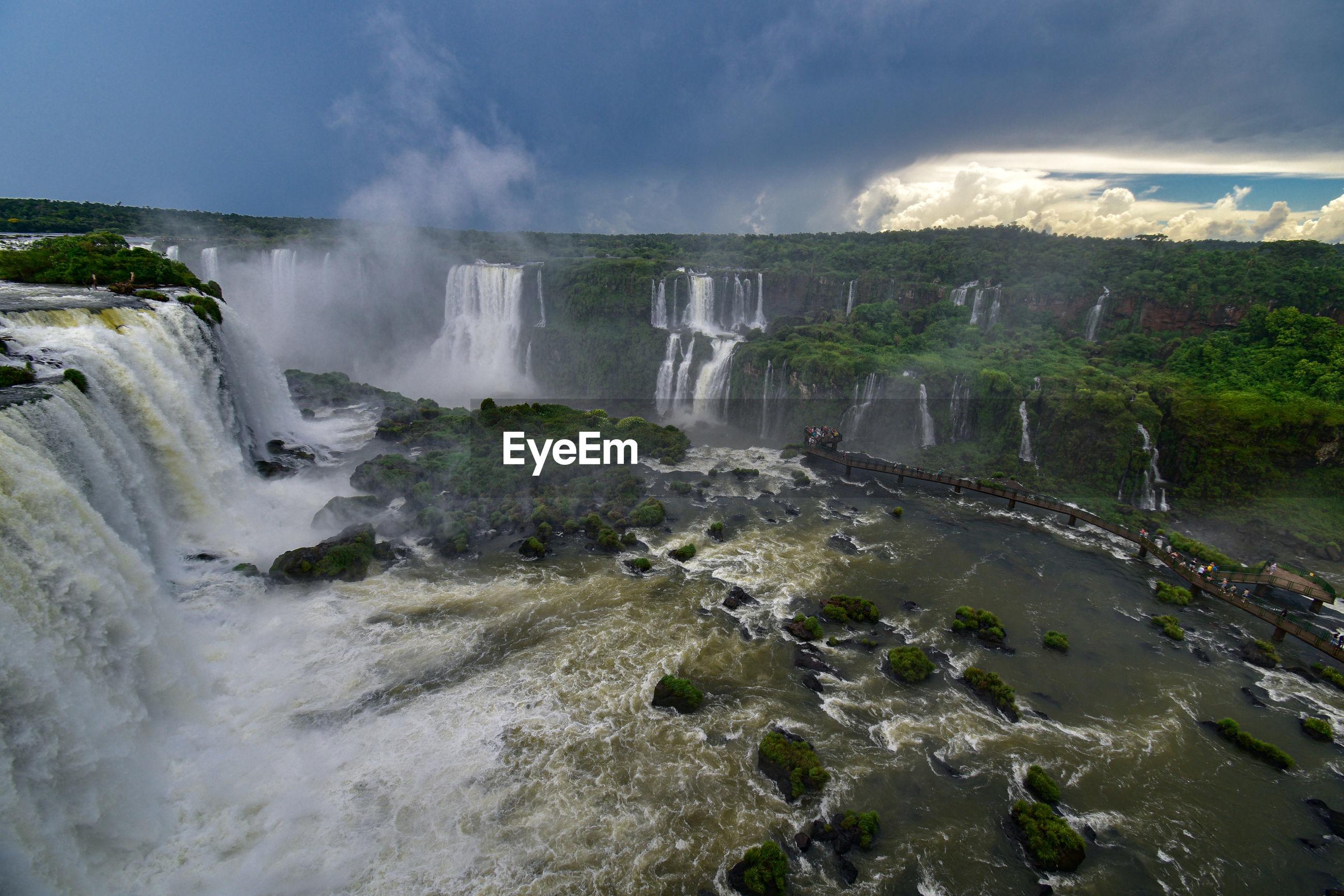 Large group of people watching the world's largest waterfall - cataratas do iguaçu