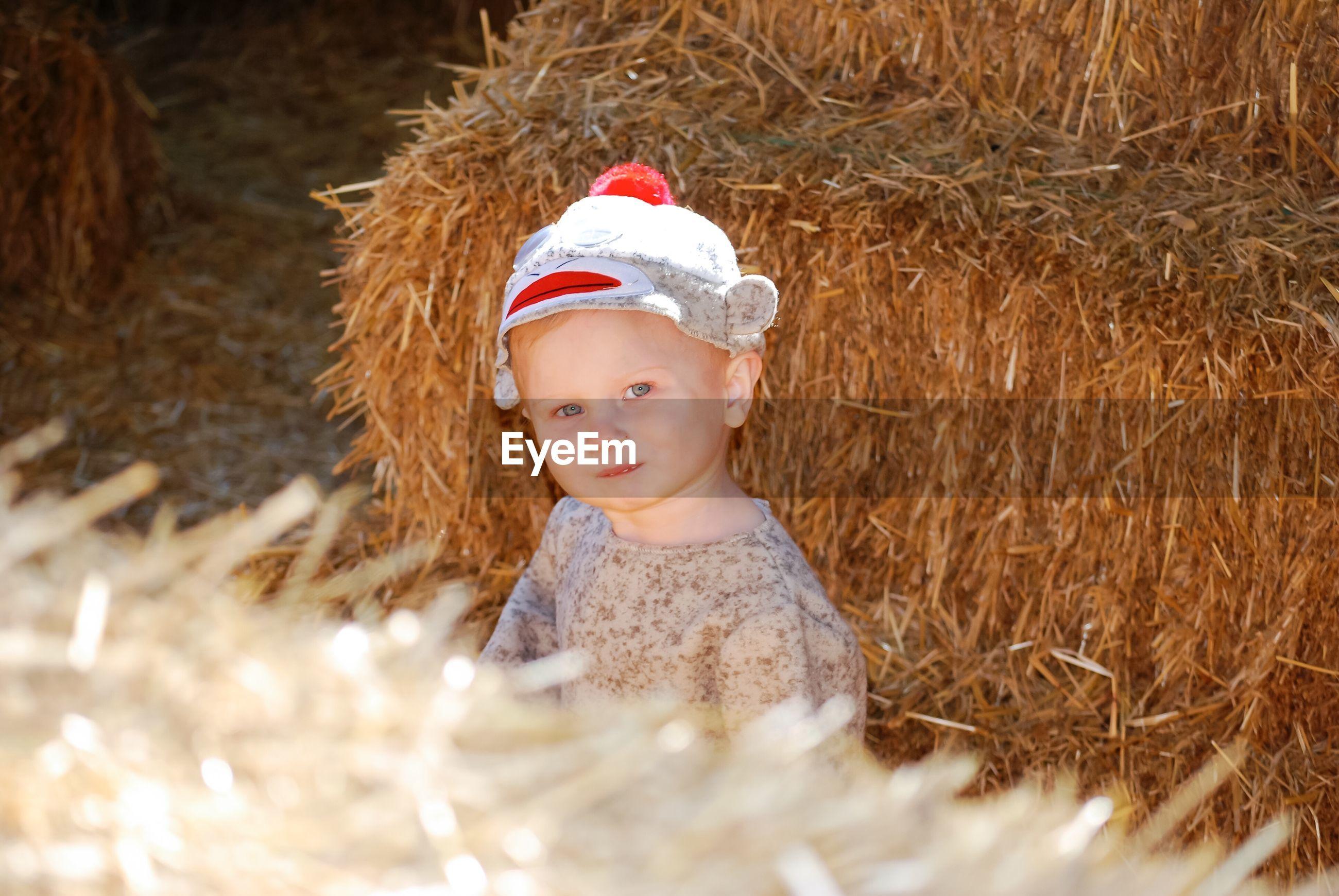 Portrait of boy sitting by hay bales