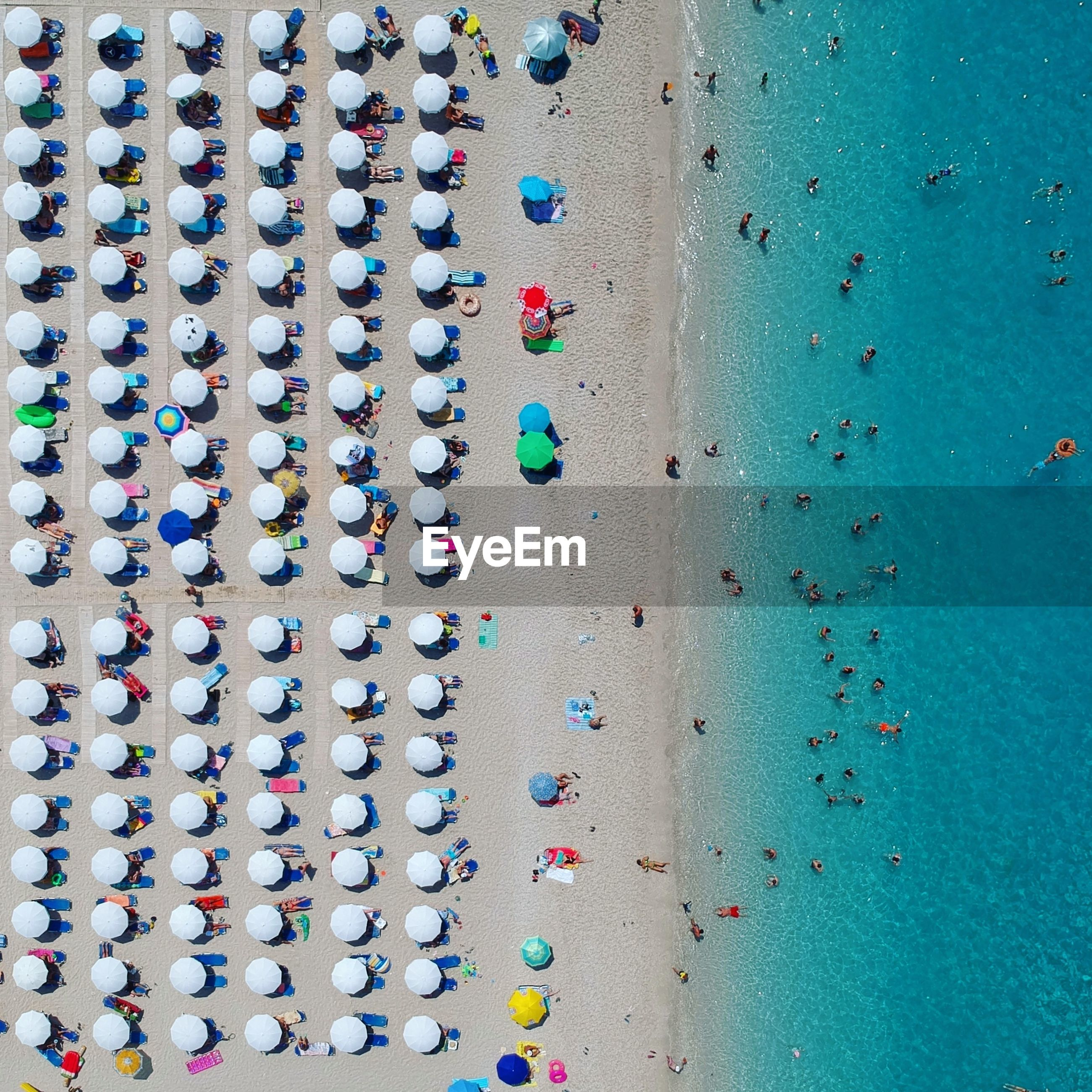 Directly above shot of parasols and people at beach during sunny day