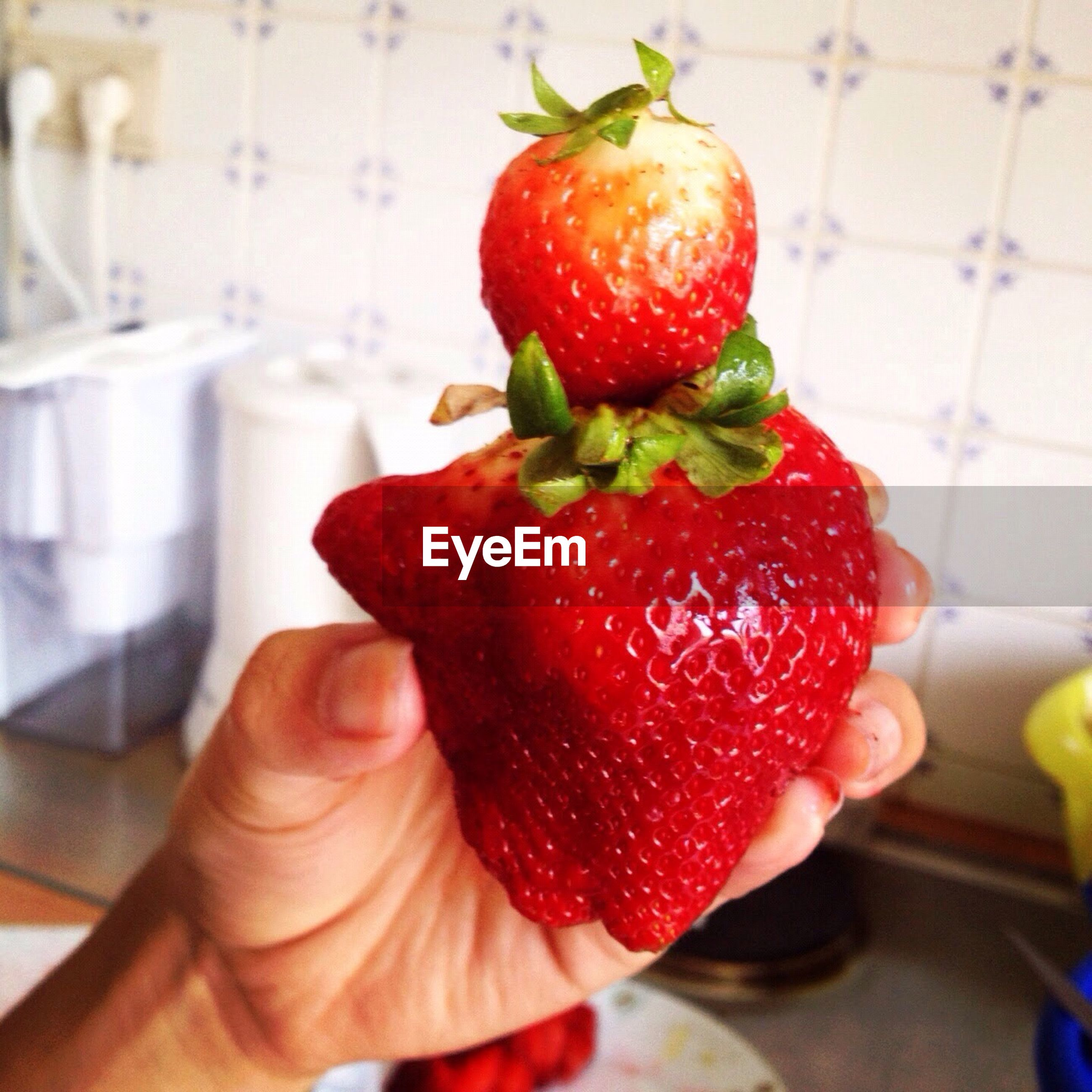 Cropped image of hand holding strawberries in bathroom