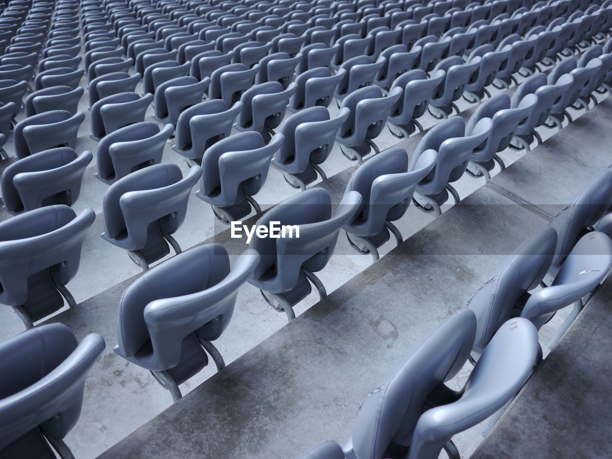 High angle view of empty chairs