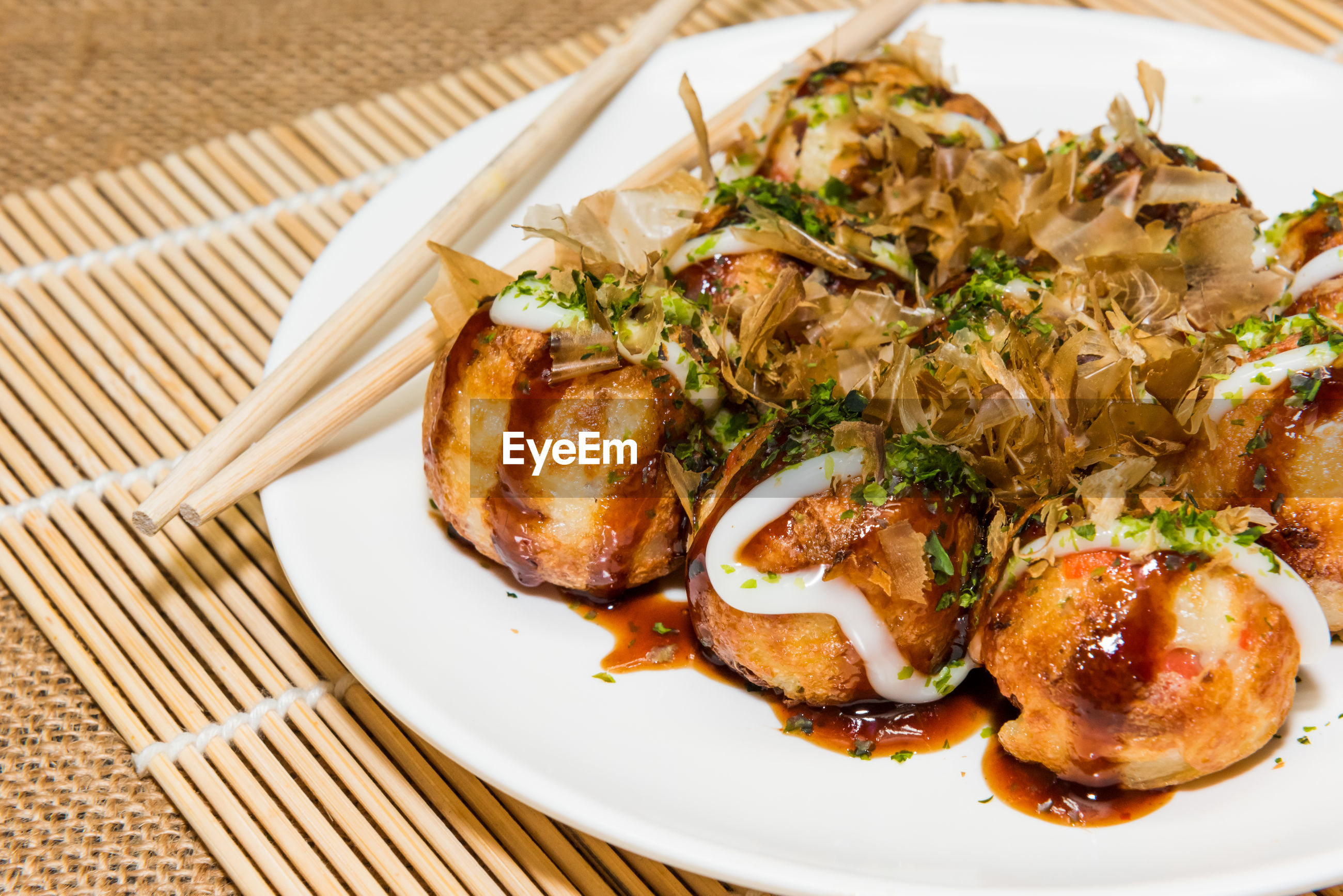 Homemade delicious takoyaki  or octopus ball, one of the famous japanese food