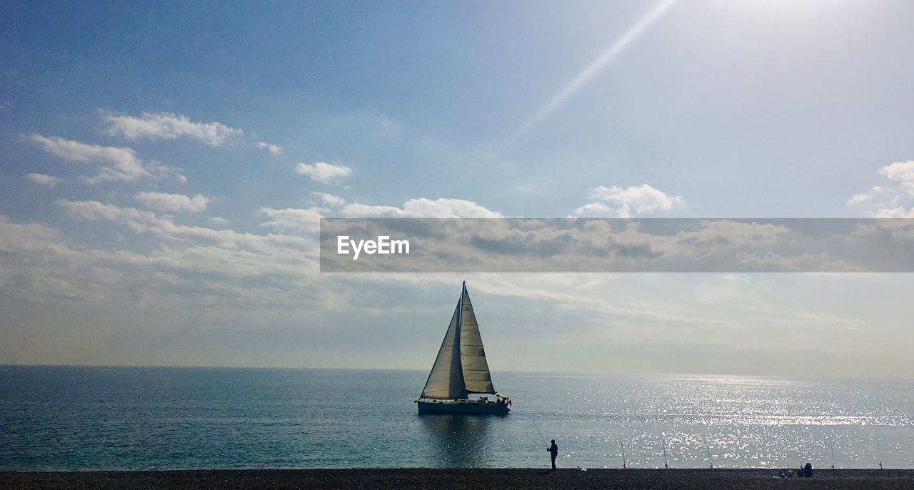sky, sea, cloud - sky, horizon over water, water, beauty in nature, scenics, day, nature, outdoors, no people, nautical vessel