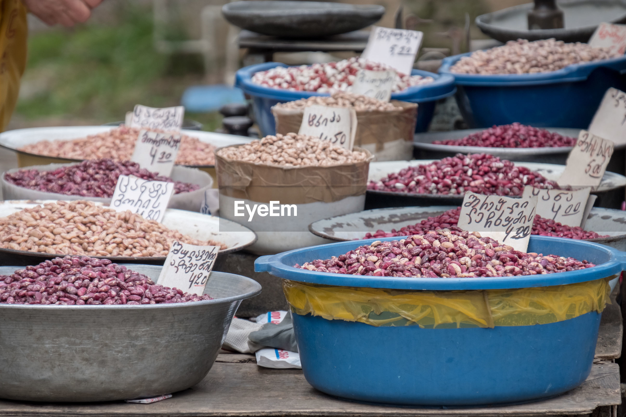 Various nuts for sale at market stall