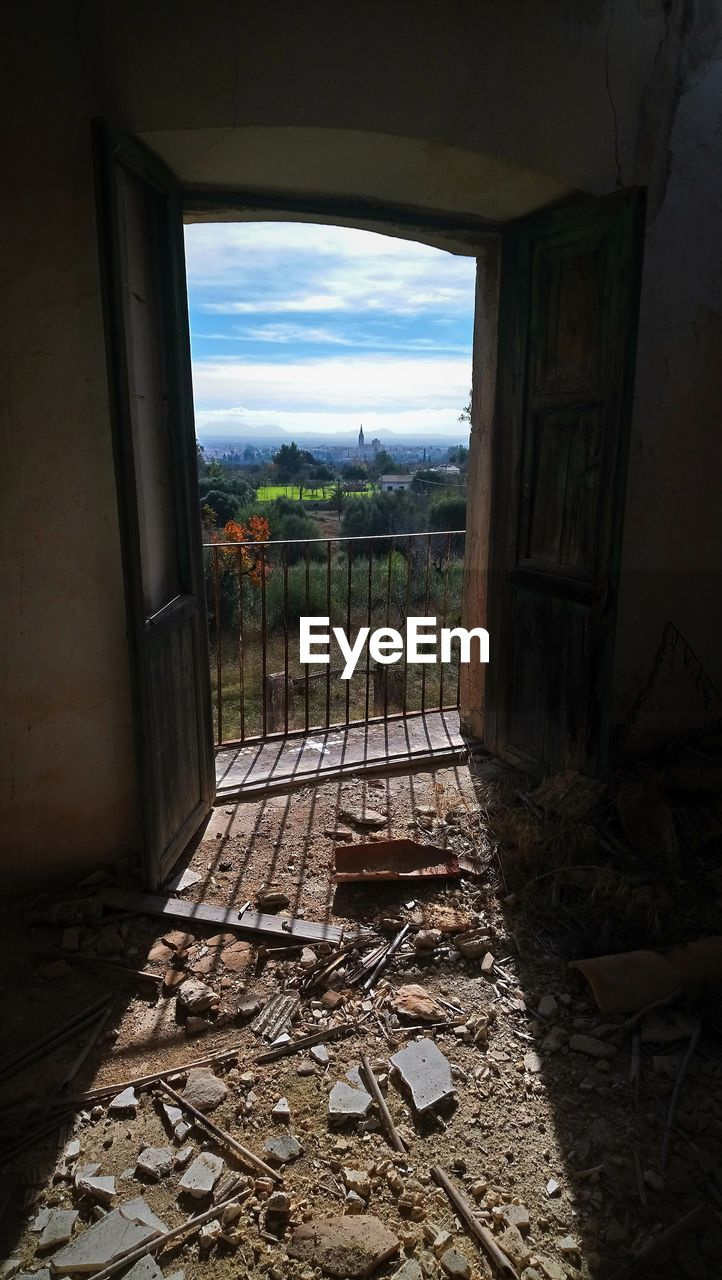 window, abandoned, no people, indoors, damaged, architecture, day, field, built structure, sky, nature