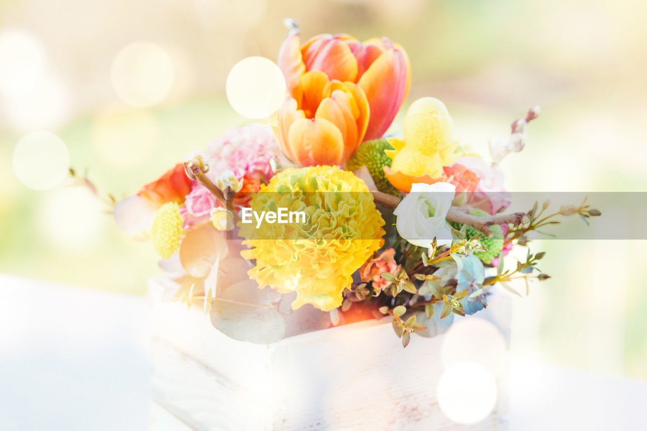 flower, flowering plant, freshness, close-up, plant, focus on foreground, table, still life, food, food and drink, sweet food, no people, nature, selective focus, ready-to-eat, unhealthy eating, indulgence, temptation, wedding, beauty in nature, bouquet, flower arrangement