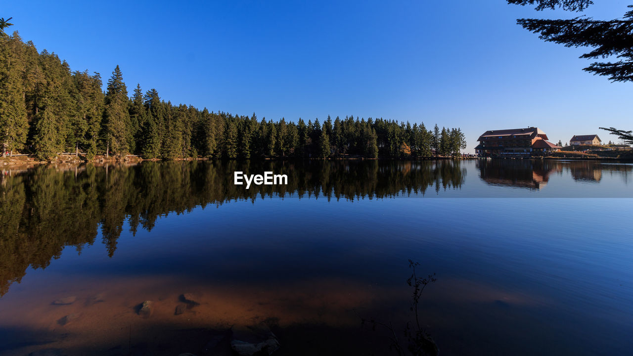 reflection, tree, water, lake, nature, outdoors, tranquility, tranquil scene, no people, built structure, beauty in nature, scenics, day, blue, architecture, sky, clear sky