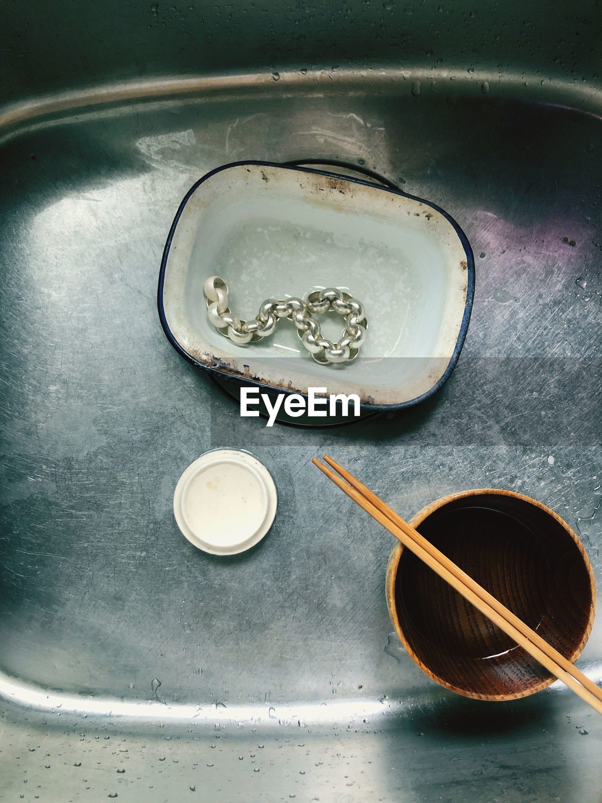 High angle view of water in bowl on table