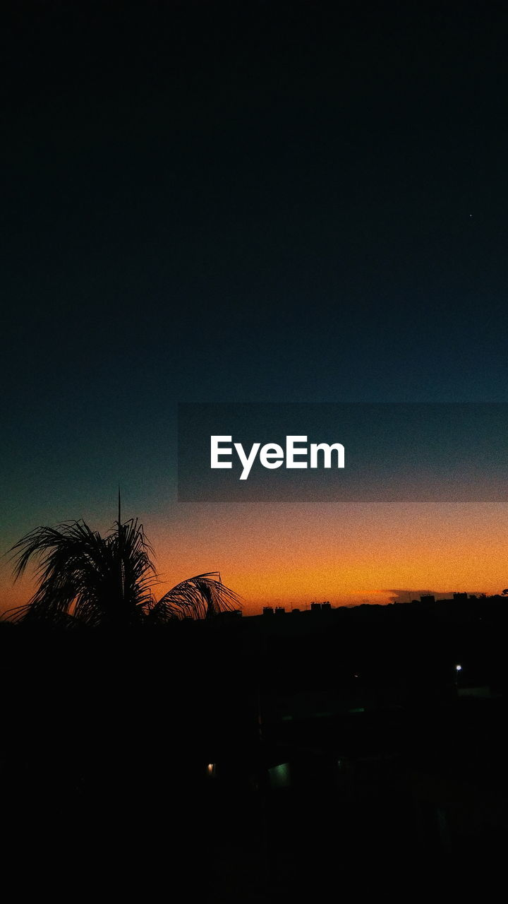 sky, scenics - nature, copy space, sunset, silhouette, tranquil scene, beauty in nature, environment, tranquility, landscape, nature, tree, clear sky, no people, plant, non-urban scene, field, land, idyllic, outdoors, dark, arid climate