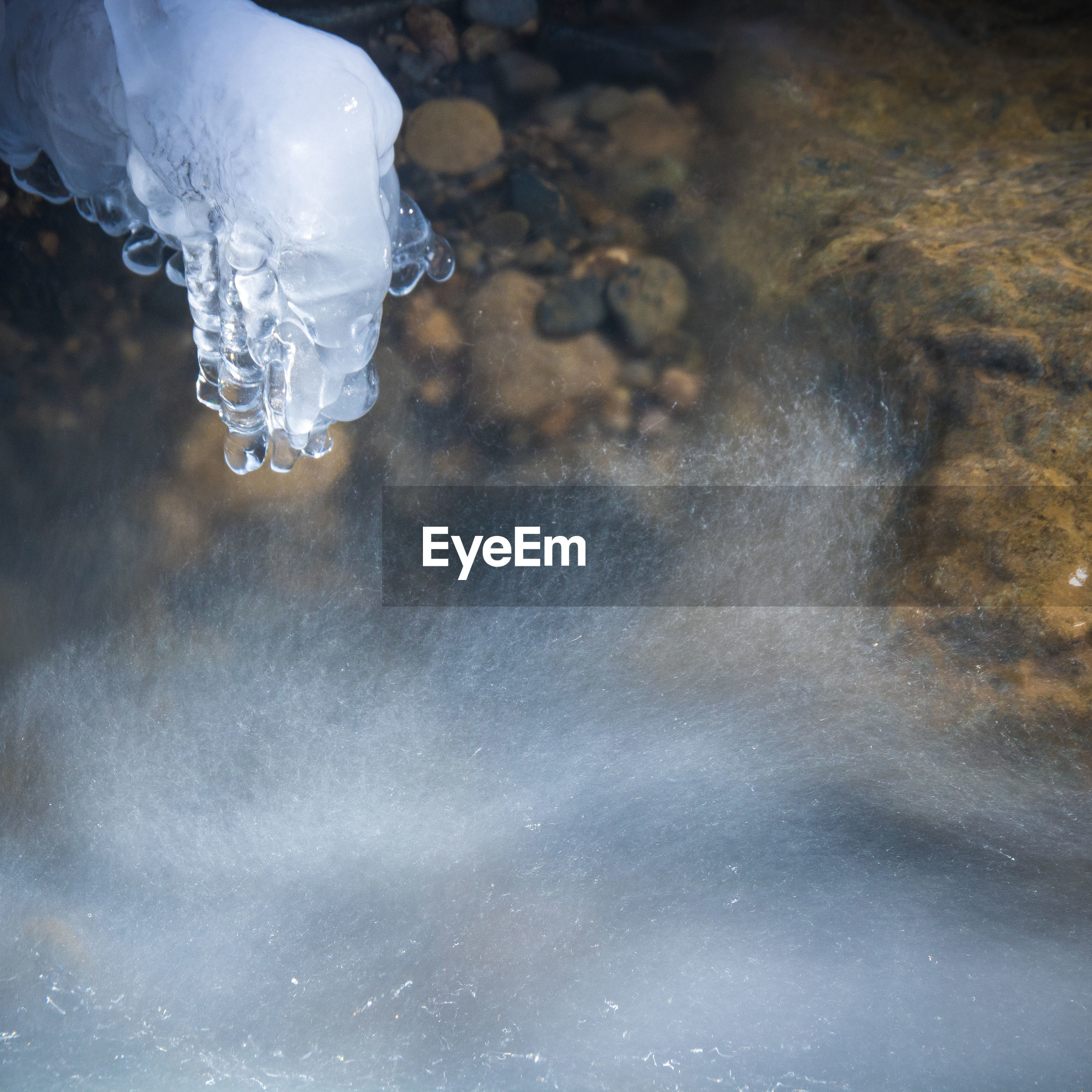 Close-up of frozen water