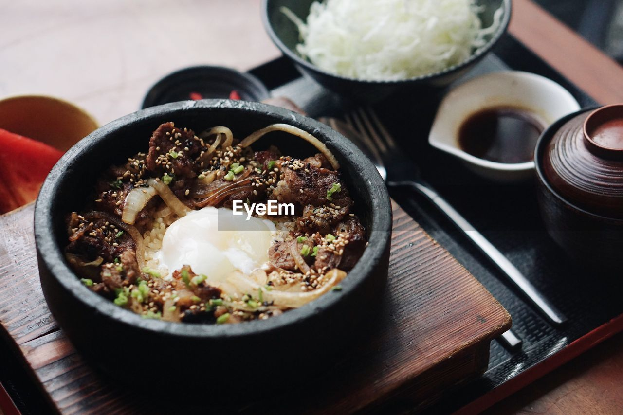 High Angle View Of Gyudon On Tray