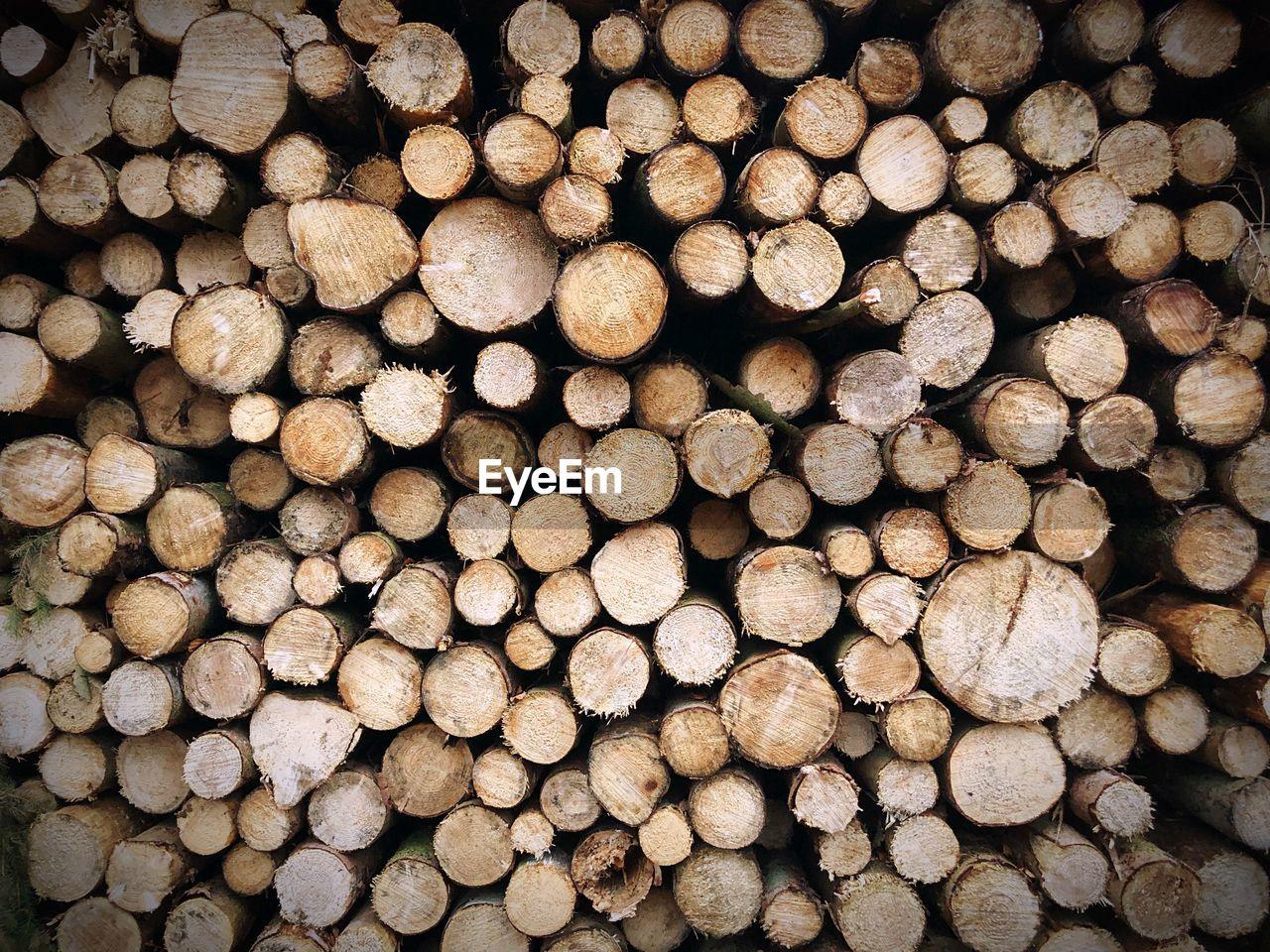 Full frame shot of logs