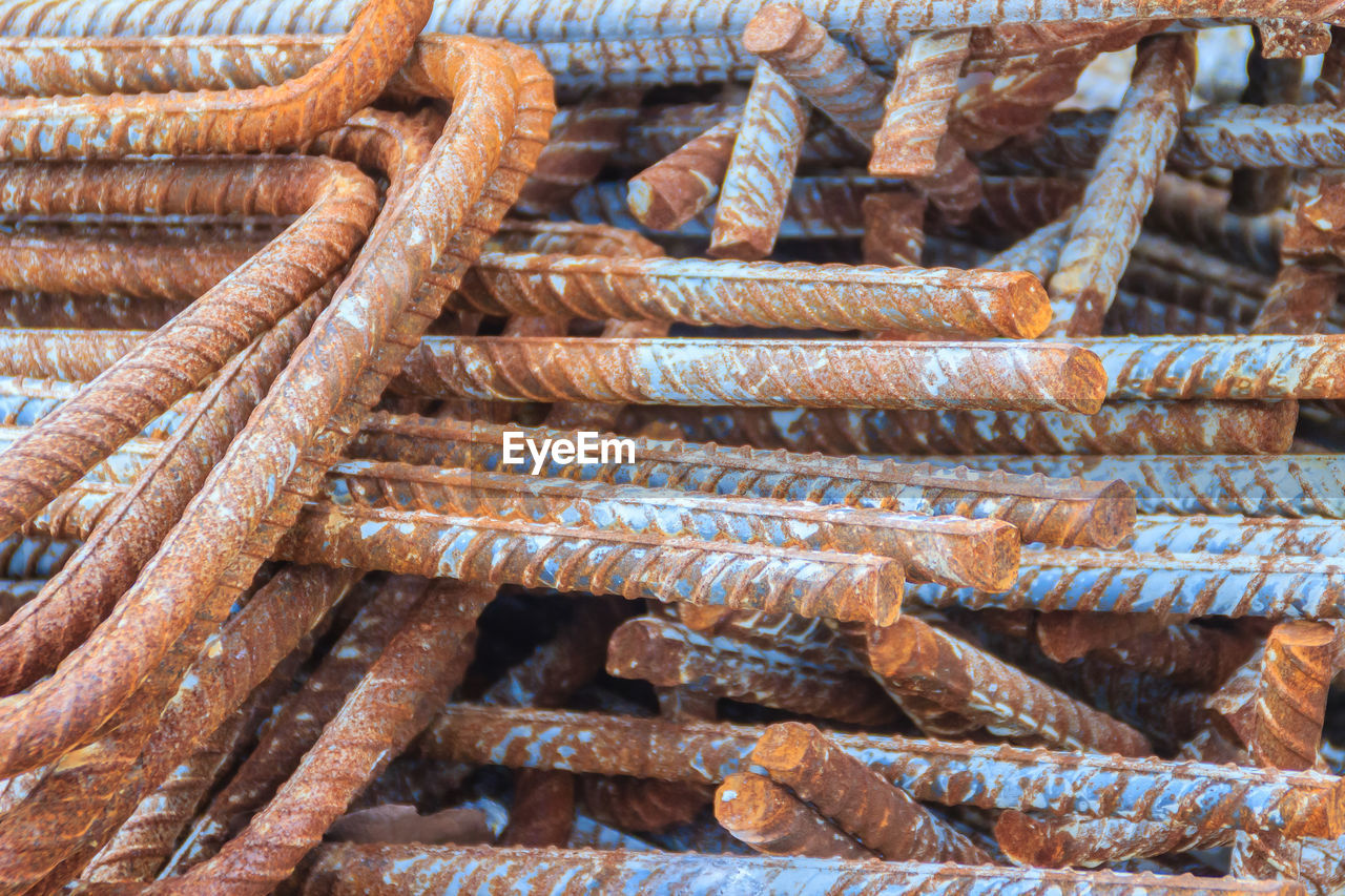 large group of objects, no people, rusty, stack, backgrounds, full frame, heap, strength, abundance, rope, day, brown, food and drink, metal, pattern, food, close-up, freshness, high angle view, still life, fishing industry