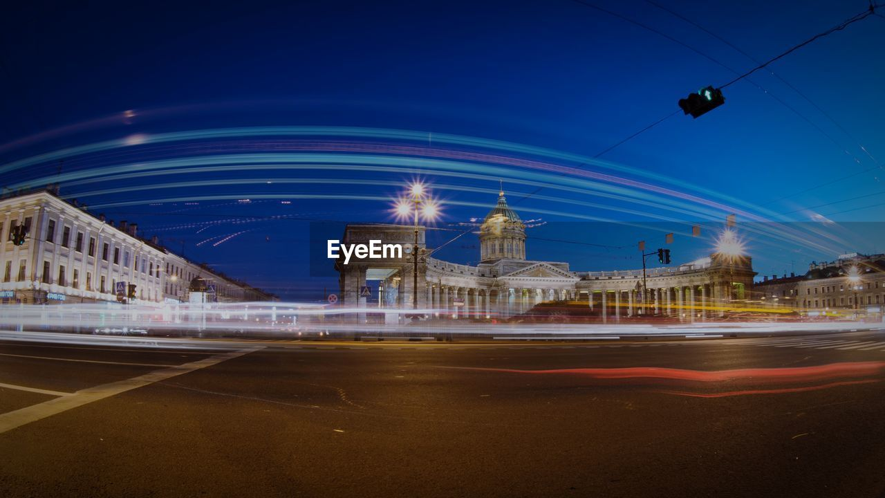 Light tails on street in front of kazan cathedral
