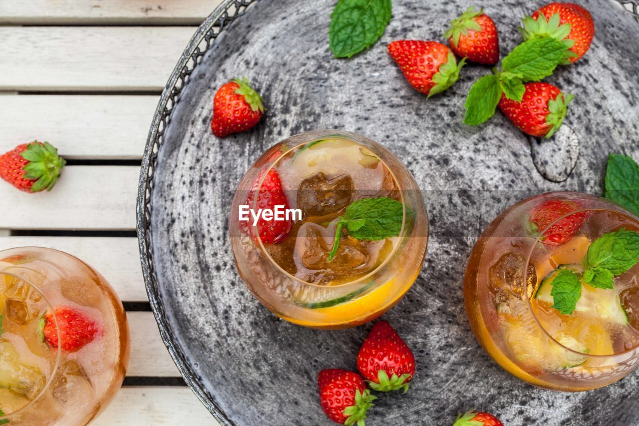 food, food and drink, fruit, healthy eating, freshness, berry fruit, wellbeing, strawberry, high angle view, bowl, no people, directly above, indoors, table, close-up, ready-to-eat, still life, leaf, wood - material, dairy product, garnish, herb, mint leaf - culinary, breakfast