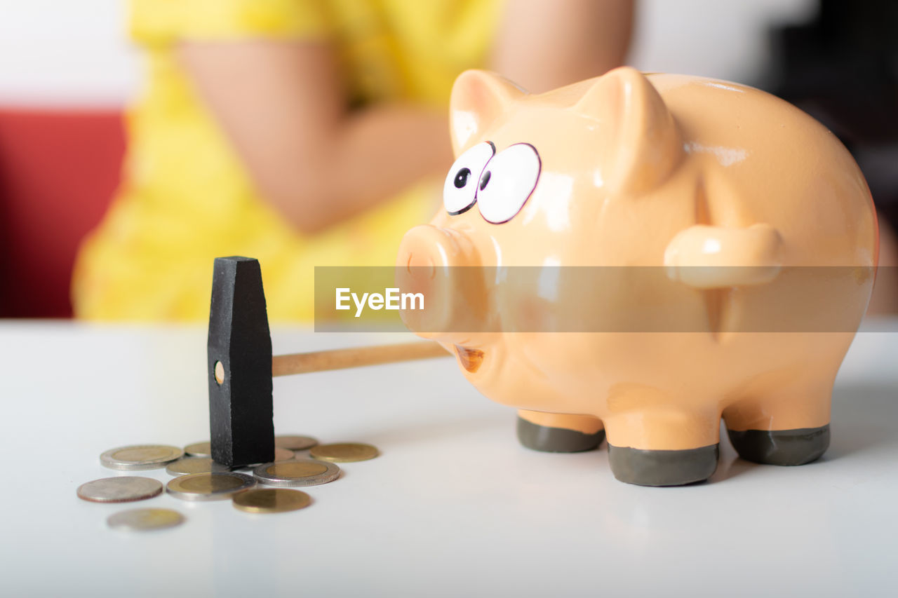 finance, piggy bank, savings, currency, business, investment, representation, indoors, wealth, animal representation, still life, close-up, coin, toy, no people, focus on foreground, table, coin bank, yellow, white color, economy