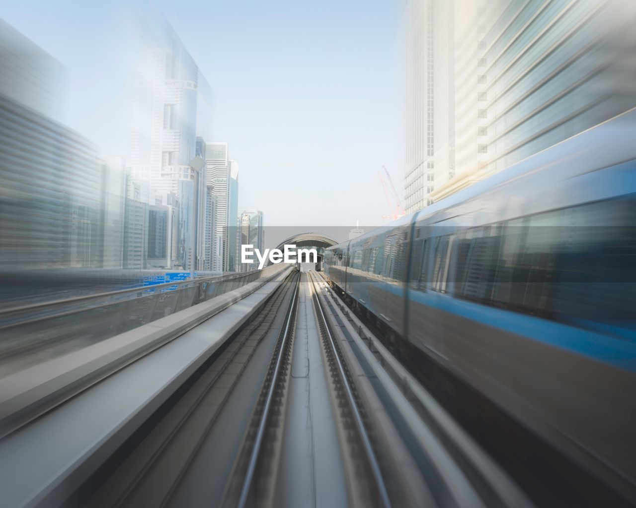 Blurred motion of subway train in city