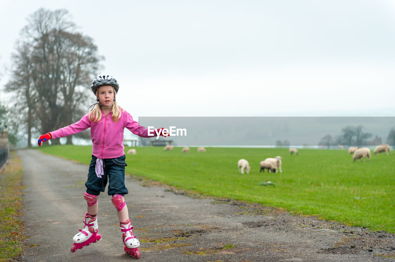 Young girl roller skating past a field of sheep