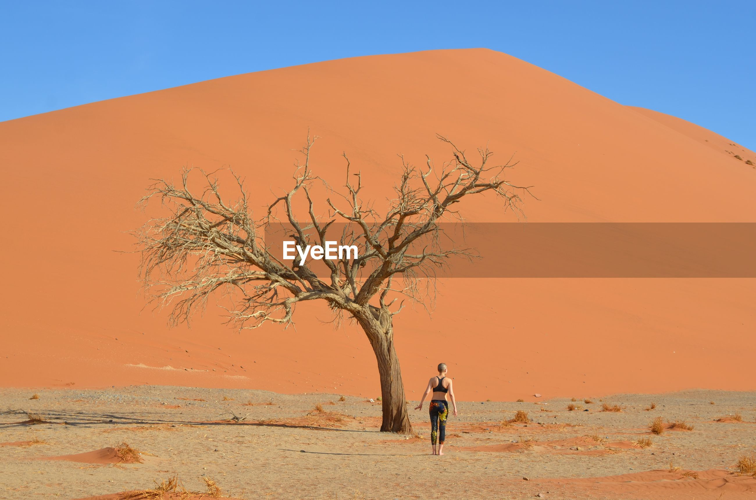 Rear view of woman walking towards sand dune against clear sky