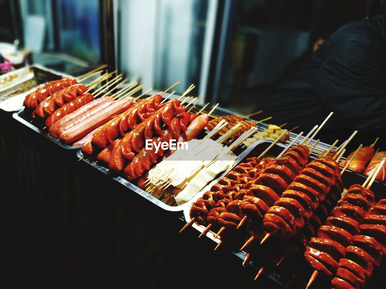 food and drink, food, freshness, arrangement, wellbeing, healthy eating, meat, indoors, market, for sale, retail, in a row, barbecue, still life, large group of objects, incidental people, order, abundance, side by side, skewer, retail display