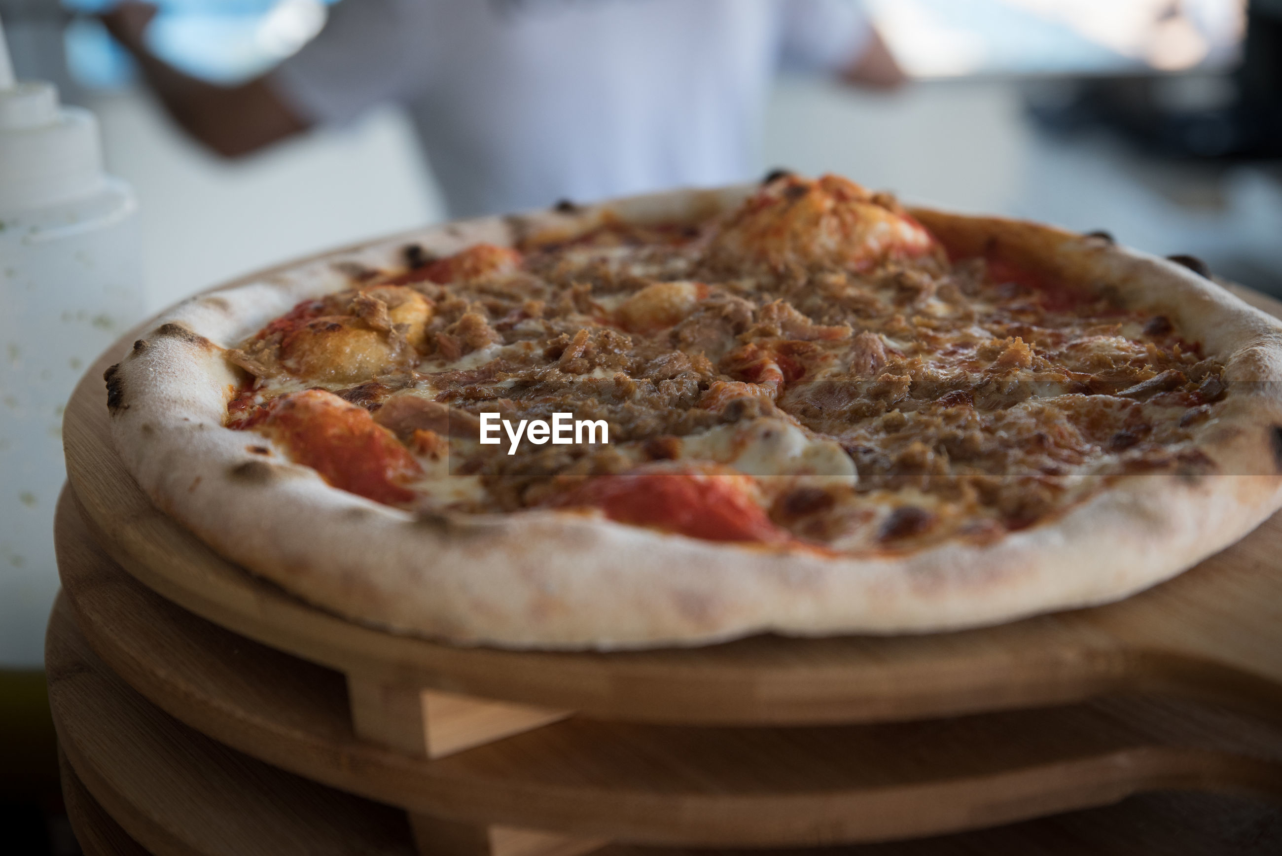 Close-up of pizza served in plate