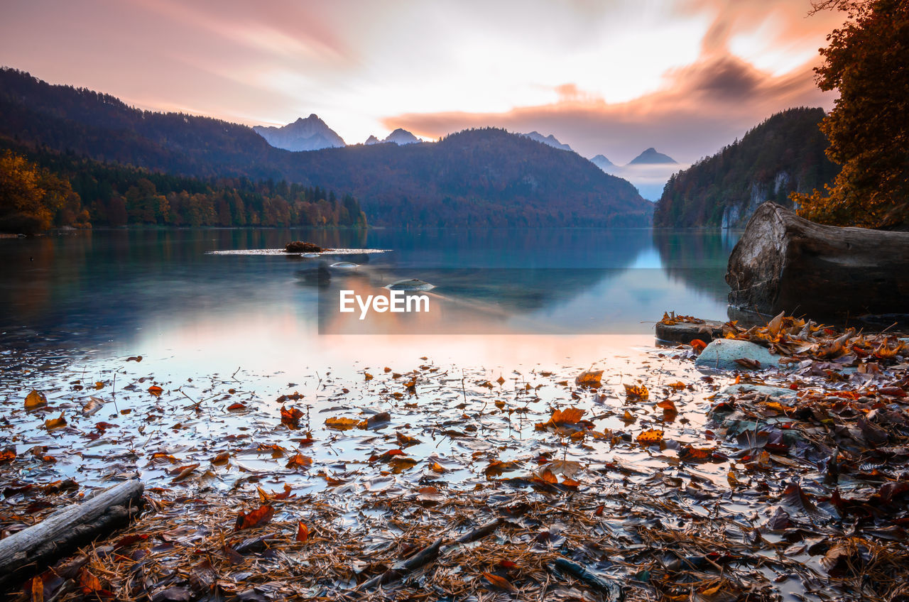 A long exposure of an alp lake shortly after sunset
