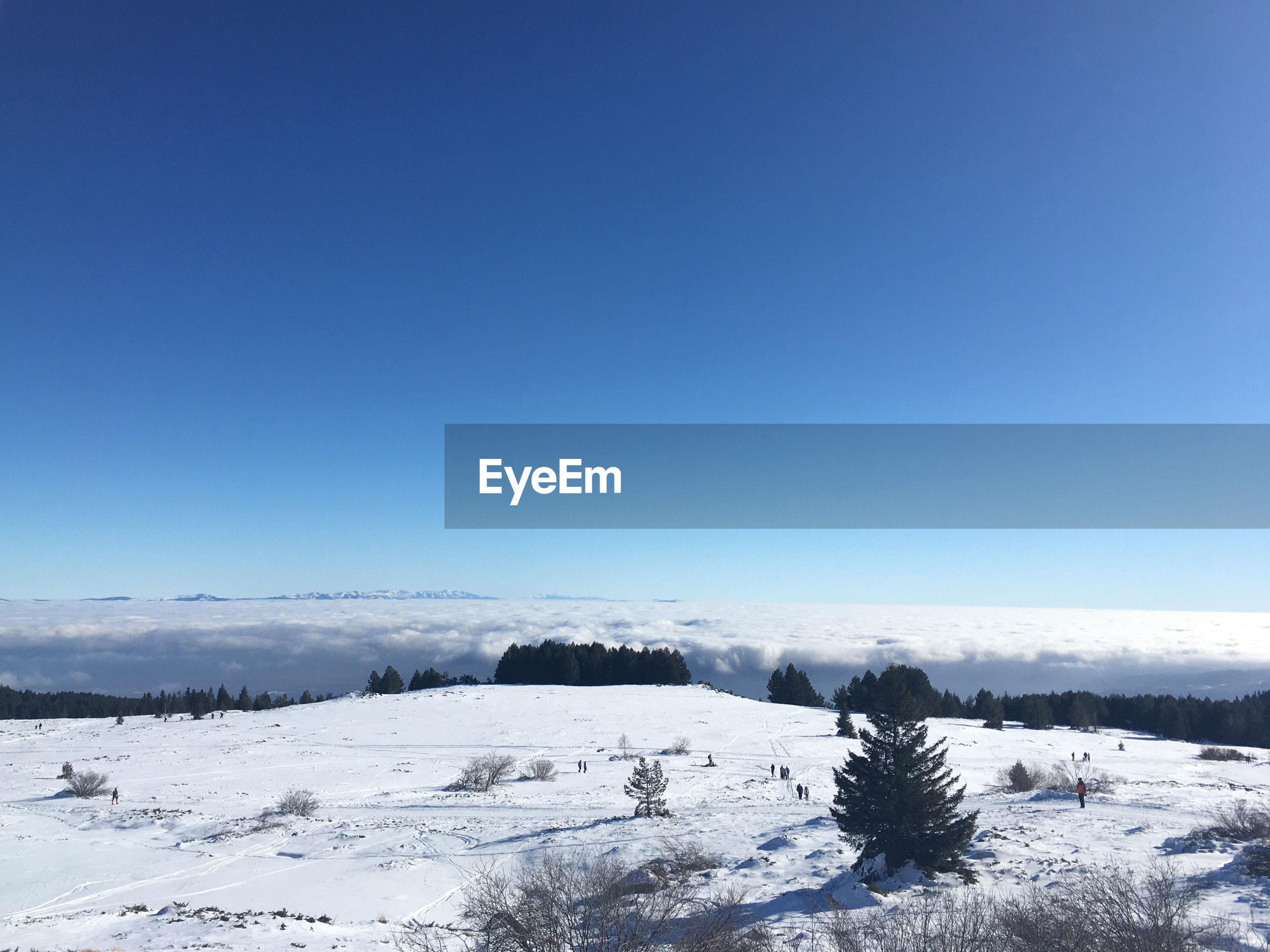 SCENIC VIEW OF SNOWCAPPED LANDSCAPE AGAINST CLEAR SKY