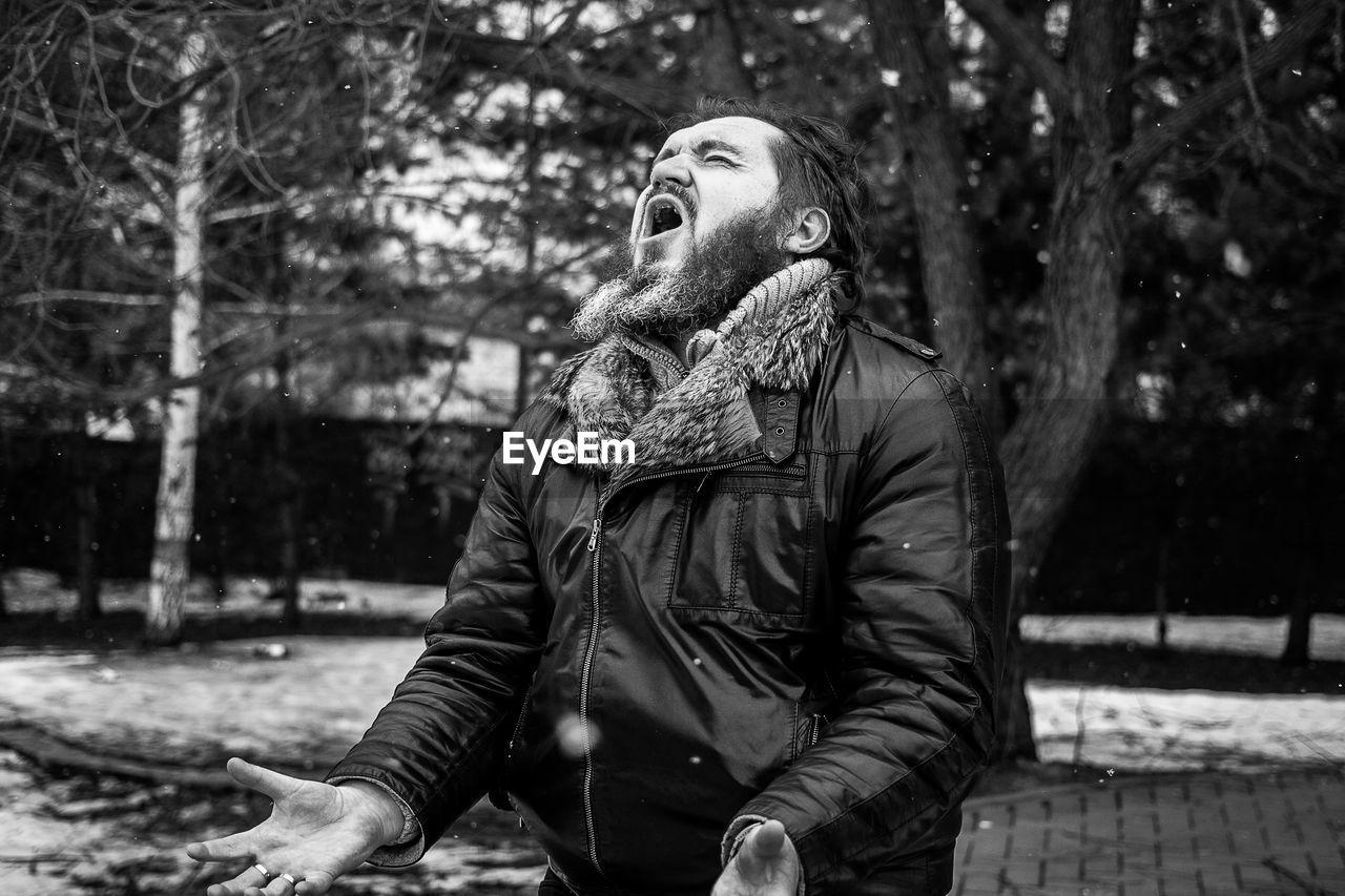 Man Screaming Outdoors