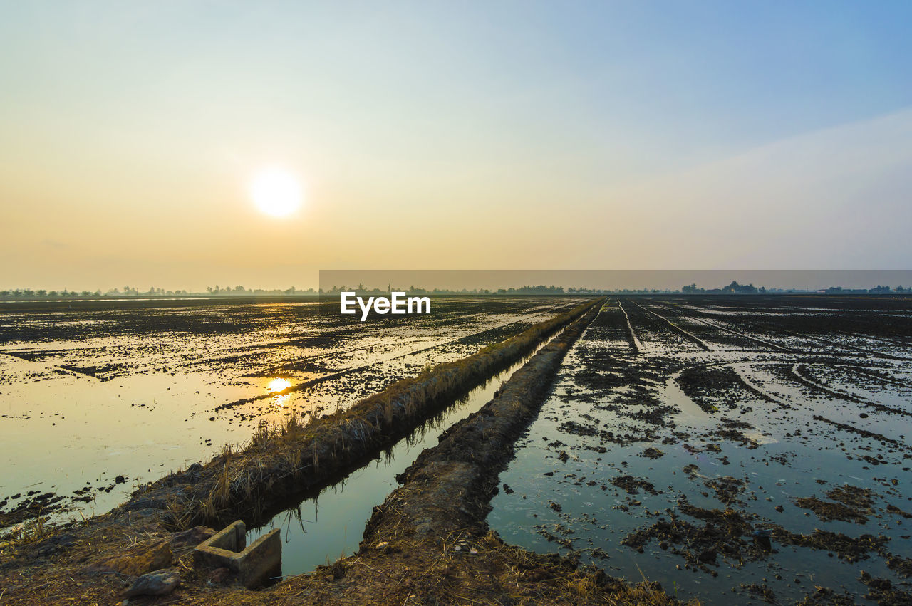 nature, tranquil scene, sunset, tranquility, agriculture, scenics, outdoors, beauty in nature, sky, rural scene, no people, landscape, field, sunlight, sun, water, day, salt basin, salt - mineral