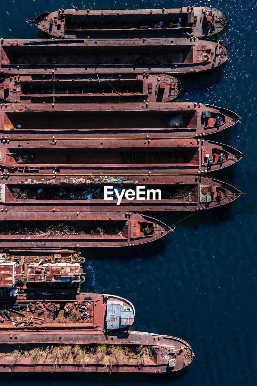 High angle view of old ship moored at sea