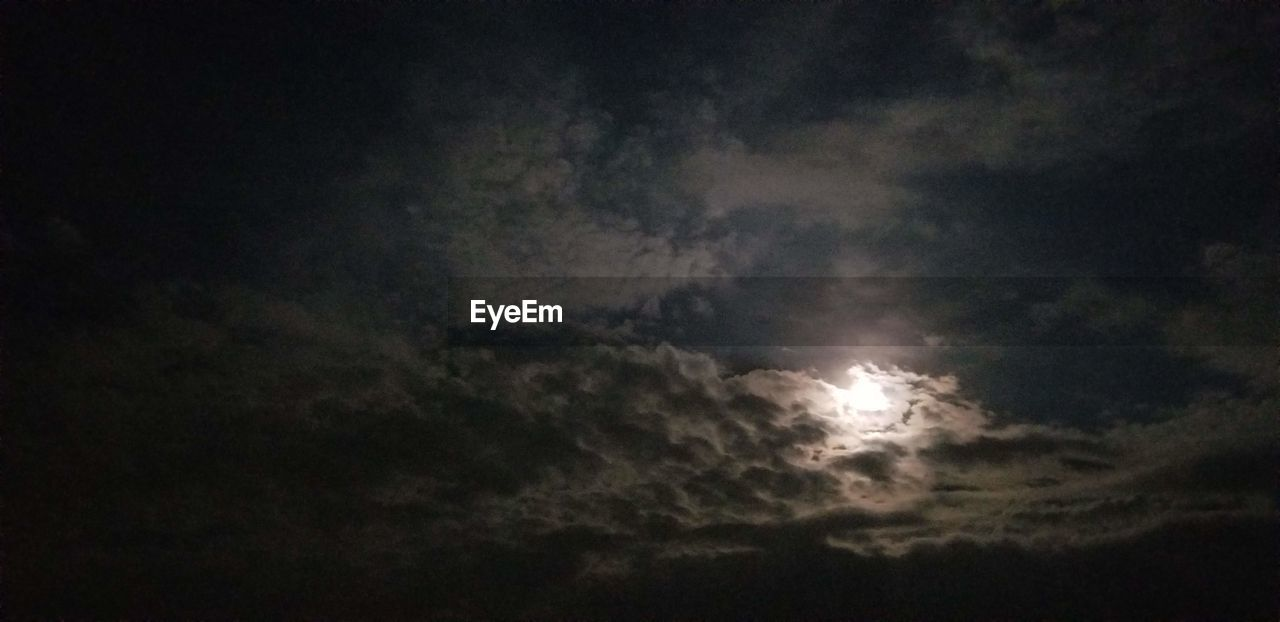 cloud - sky, sky, beauty in nature, scenics - nature, low angle view, tranquility, moon, no people, nature, night, tranquil scene, cloudscape, outdoors, idyllic, majestic, space, overcast, dark, astronomy, moonlight, ominous, meteorology, planetary moon