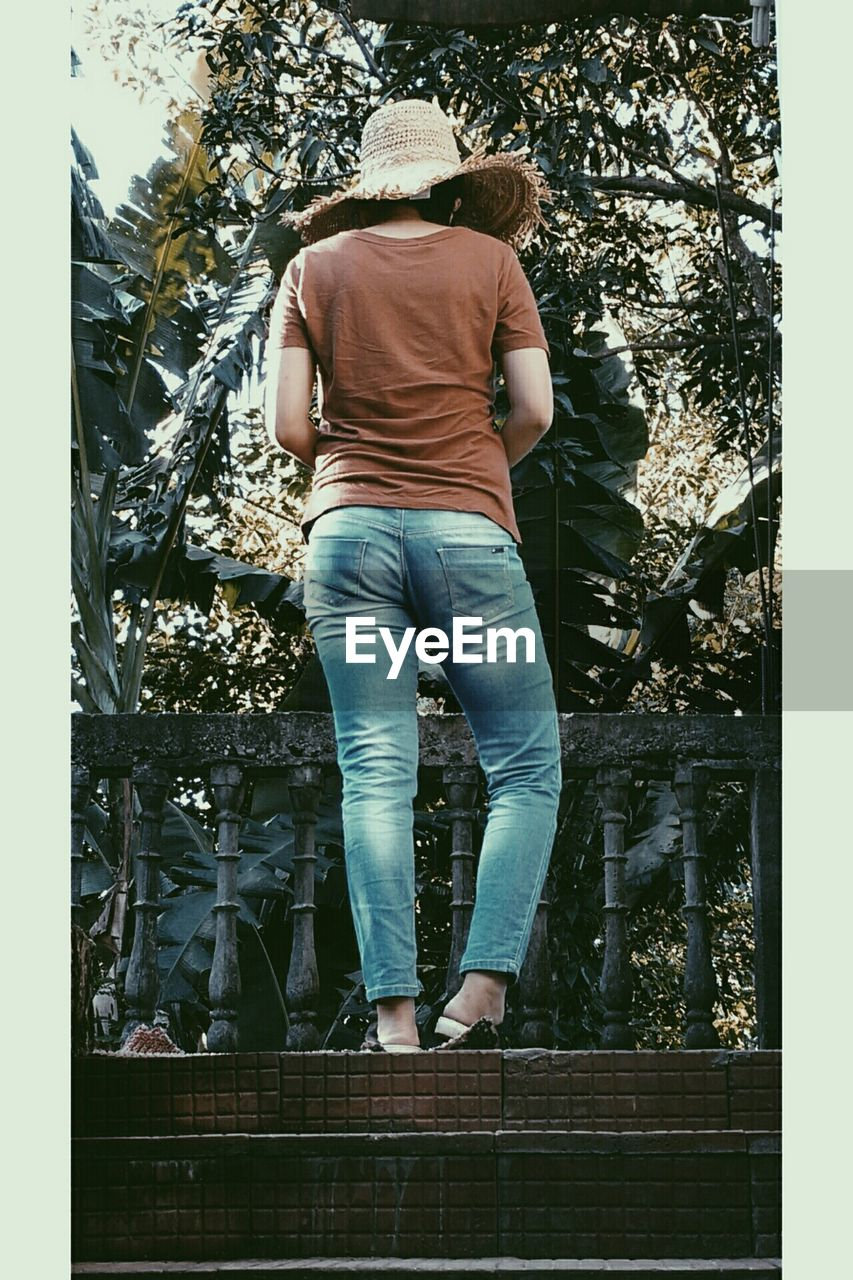 rear view, real people, one person, casual clothing, day, lifestyles, men, full length, standing, tree, outdoors, leisure activity, people