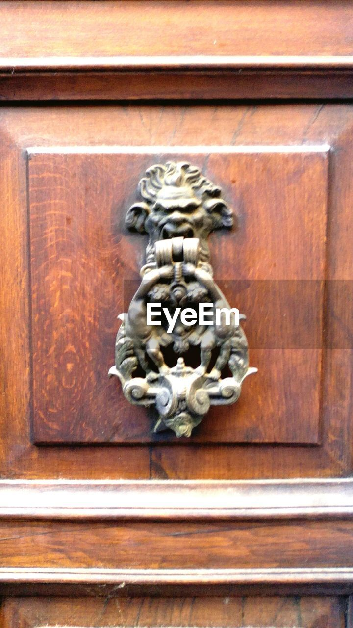 door, outdoors, art and craft, day, animal representation, close-up, no people, wood - material, lion - feline, sculpture, building exterior