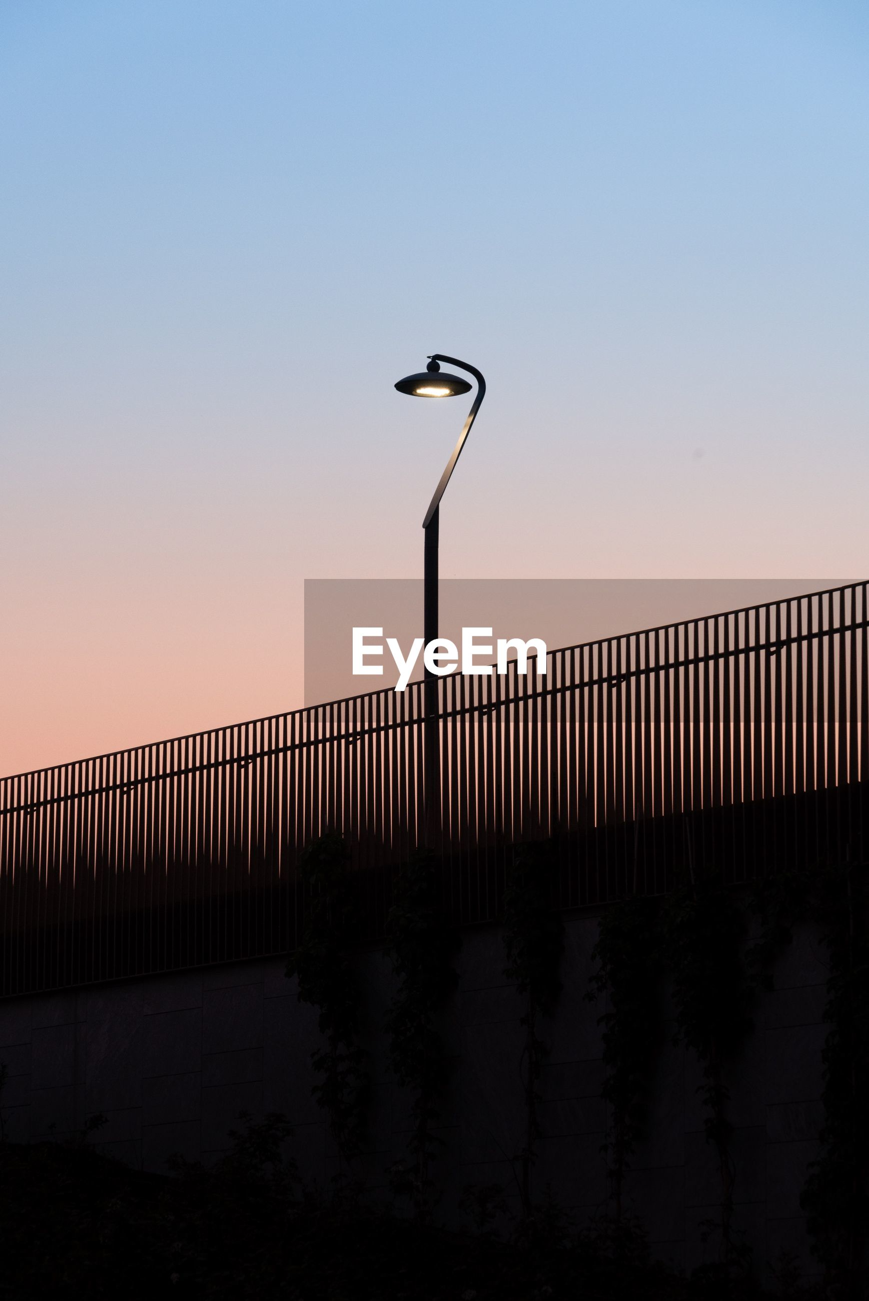 sky, clear sky, nature, copy space, sunset, bridge, silhouette, railing, built structure, bridge - man made structure, architecture, street light, connection, vertebrate, bird, no people, beauty in nature, street, outdoors, scenics - nature